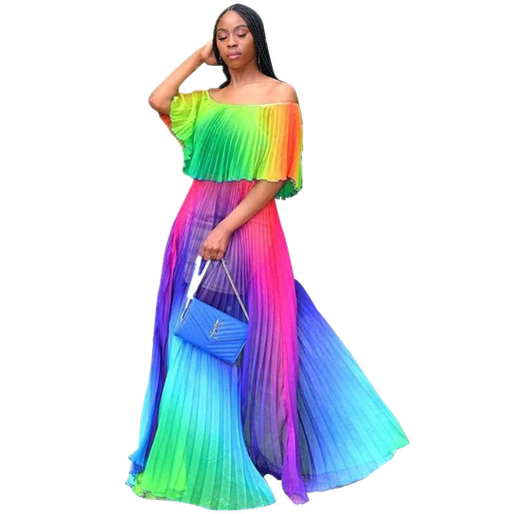 Baru Wanita Pantai Gradien Tie Dye Chiffon Cetak Off Bahu Butterfly Lengan Lipit Gaun Seksi BoHo Panjang Gaun