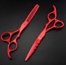 Tijeras de corte y corte de pintura de Piano rojo de 5,5 y 6 pulgadas, hechas a medida, tijeras de corte de pelo, bolsa, tijeras de peluquería