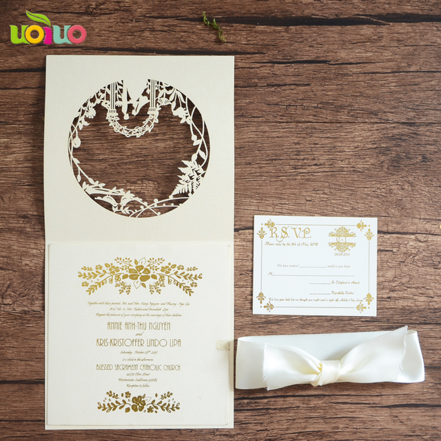 Hot Laser Cut Customized Love Birds Wedding Invitations With Free