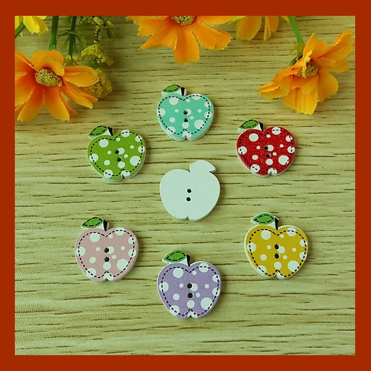 50 PcsLot, 2 Holes Mixed Color Wholesale Cheap Fashion Apple Wood Buttons Garment and gifts adorn Accessories