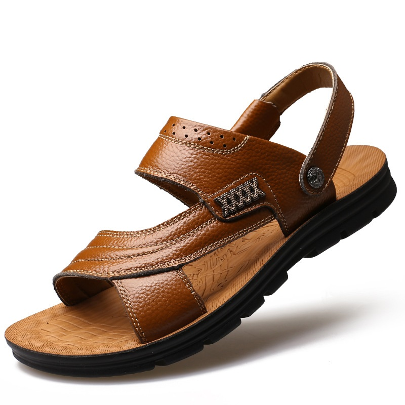 New Arrival Soft Leather Beach Sandals for Men Handmade Summer Shoes Male Retro Sewing Classics Slippers for Men Ankle-Wrap Y516