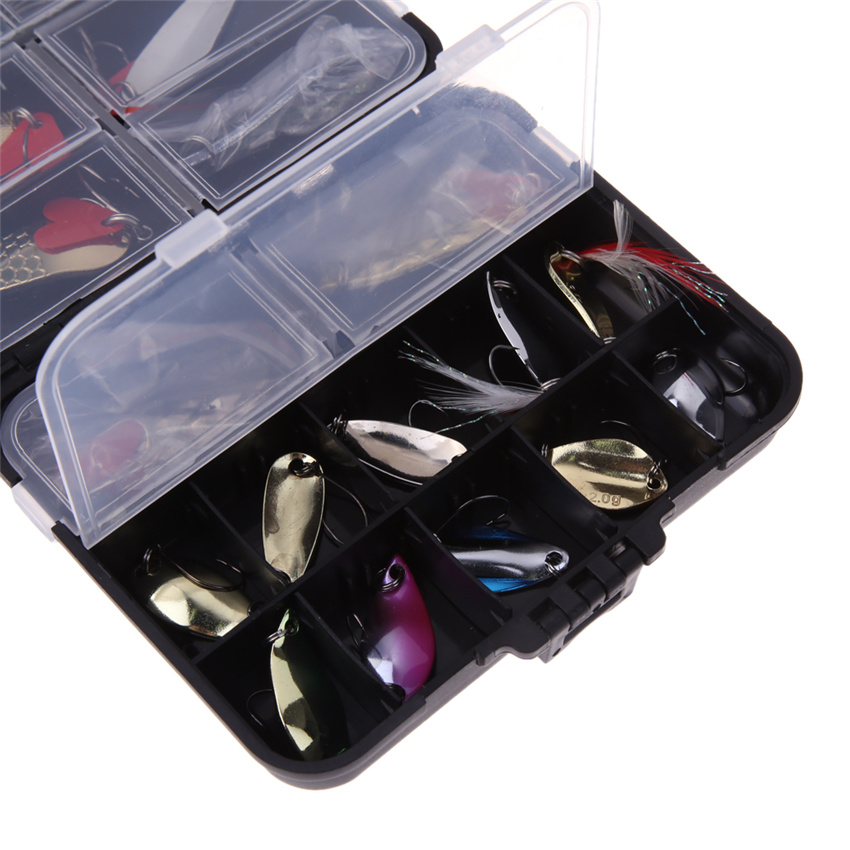 37Pcs Mixed Fishing Lures Metal Artificial Spoon Bait Fishing Kit Spinning Hard Bait Pesca Fishing Tackle Bait with Box bammax fishing lure 1 box metal iron hard bait sequins shore jigging spoon lures fishing connector pin fishing accessories pesca