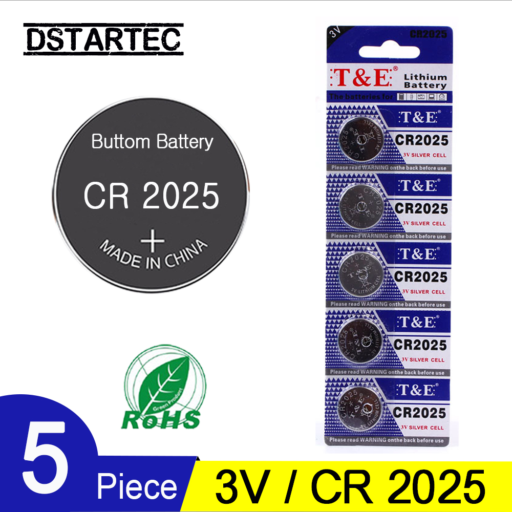 5pcs 30mAh Cell Coin Button Batteries CR2025 DL2025 BR2025 KCR2025 CR 2025 3V Lithium Battery For Watch Toys LED Light