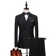 2019 Black Mens Double Breasted Latest Suits Men Slim Fit Business Tailor Wedding Tuxedo 3 Pieces Costume