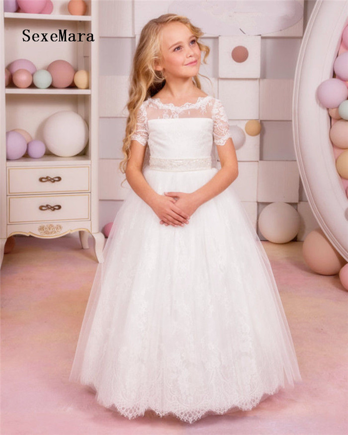 все цены на 2-16Y Kids Girls Dresses White Lace Flower Party Ball Gown Prom Dresses Kid Girl Princess Communion Gown First Communion Dress