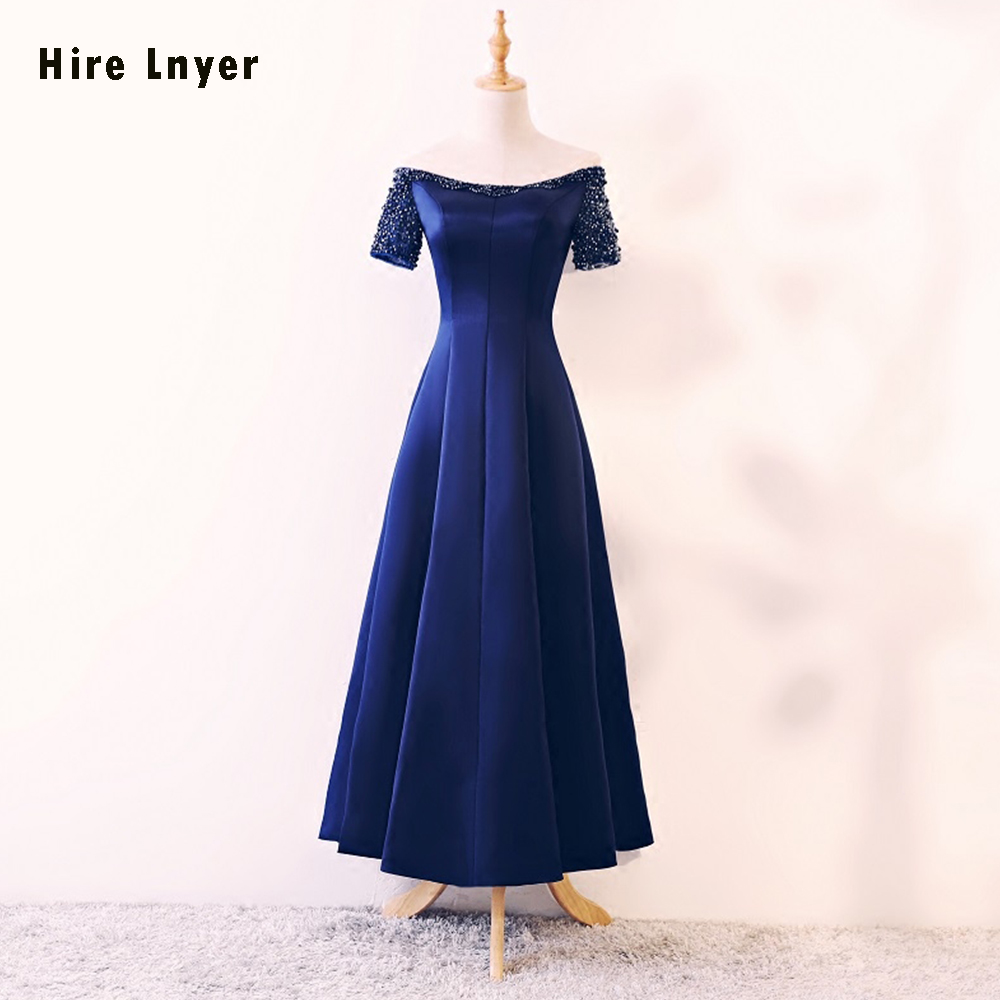 HIRE LNYEY 2019 New Listing Short Sleeve Lace Up Ankle-Length Blue Satin Mother of the Bride Dresses Vestido De Noiva