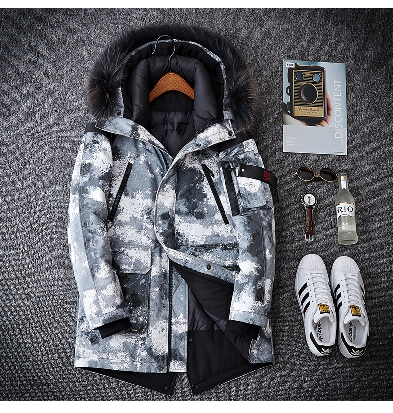 Camouflage Men White Duck Down Jacket 2019 New Men's Long Thicken Warm Jackets Hooded Down Jackets Big fur collar winter coat