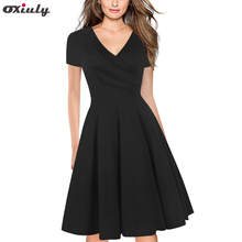 Pure Black Red Women Elegant Summer Short Sleeve Casual Wear To Work Office Party Fitted Skater A-Line Swing Dress цена и фото