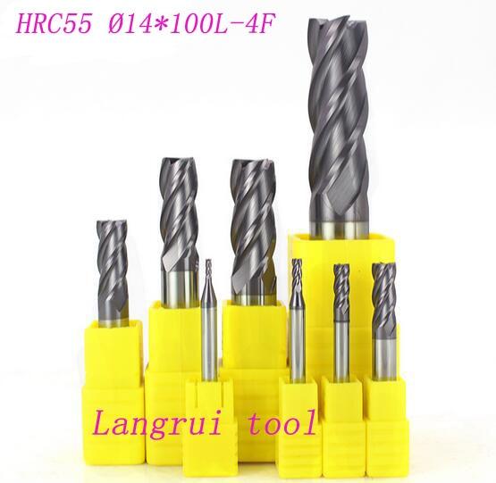 ФОТО 3PCS tungsten carbide end mill HRC55 14MM 4 four flutes CNC machine milling cutter 14X14  L100mm drill bit