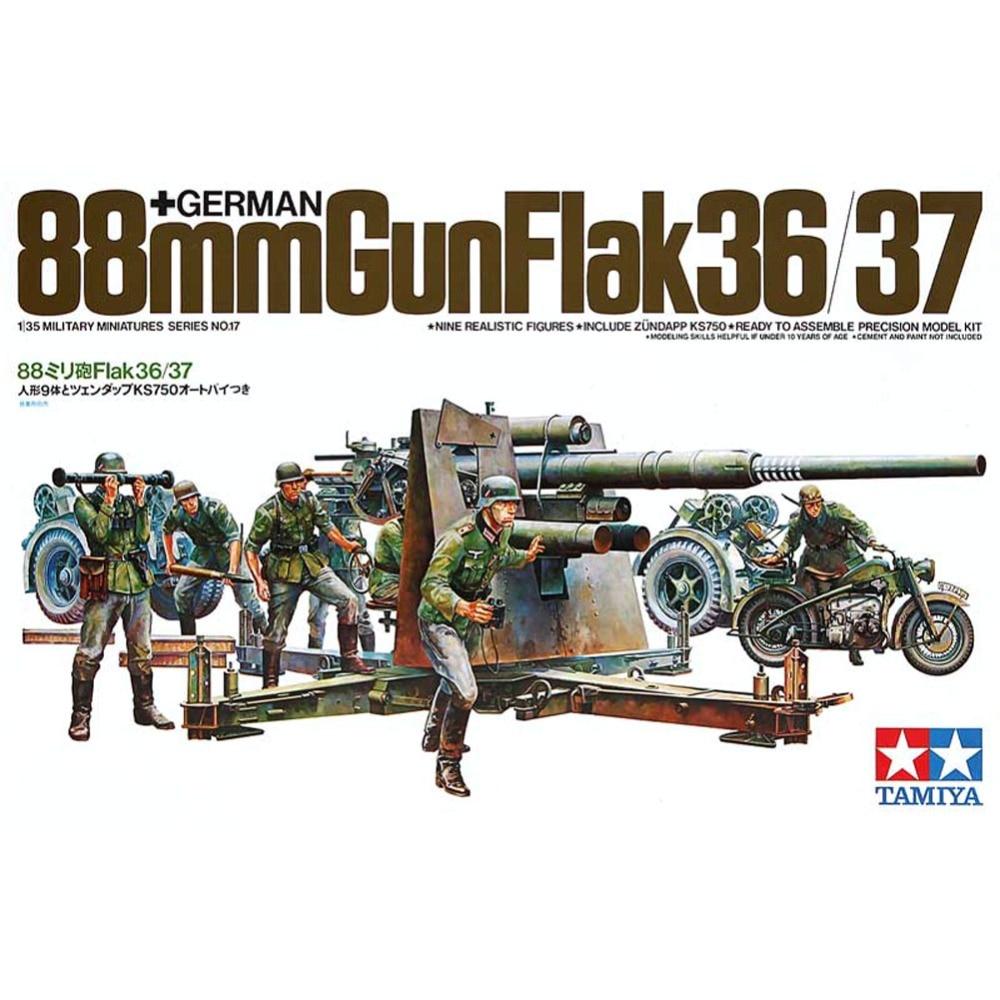 OHS Tamiya 35017 1/35 German 88mm Gun Flak 36/37 w/9 Figures Ks750 Military AFV Assembly Model Building Kits oh ohs meng ts007 1 35 german main battle tank leopard 1 a3 a4 afv model building kits