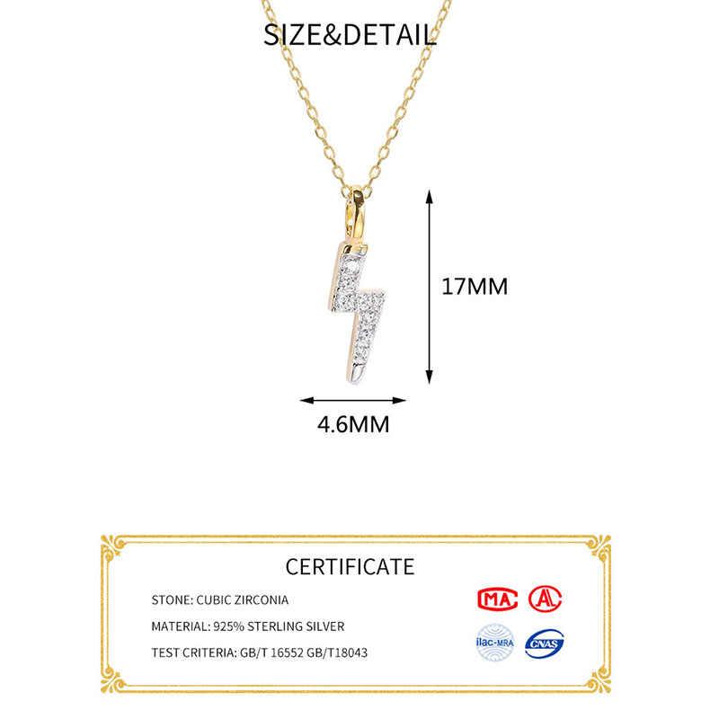 Inzatt Nyata 925 Sterling Silver Minimalis Zirkon Petir Liontin Kalung untuk Wanita Pesta Perhiasan Hiphop Hadiah