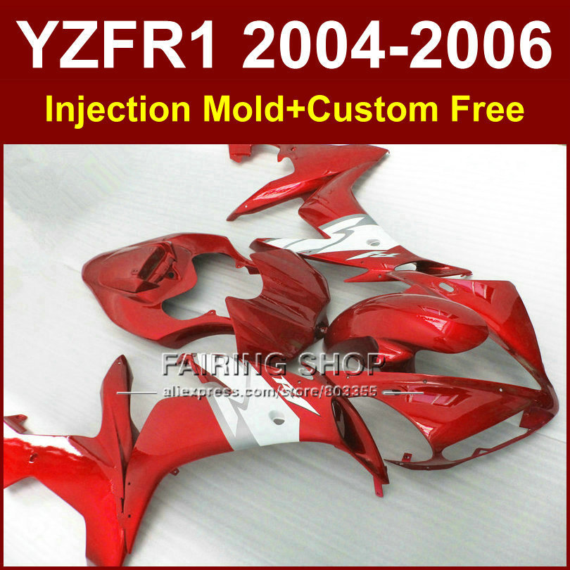7gifts factory Injection mold road/racing fairings kit for YAMAHA 04 05 06 YZFR1 YZF1000 YZF R1 2004 2005 2006 red fairing kits injection fairings for yamaha yzf r1 2009 2012 matte black wine red full plastic parts fairing kit 7gifts ll02