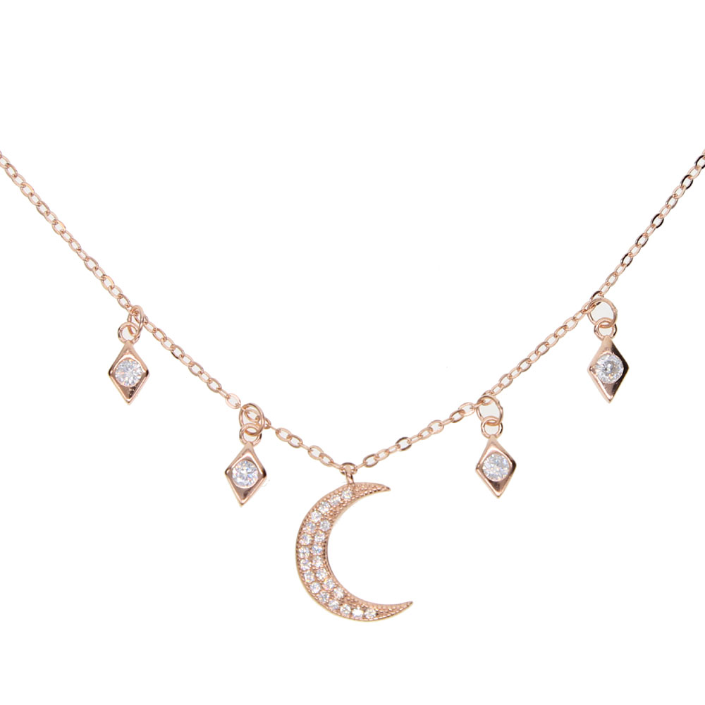 delicate moon star charm CZ New fashion trendy jewelry moon star choker necklace gift for women girl 925 Sterling silver