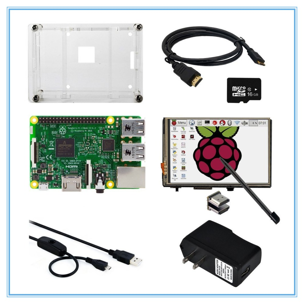 8 in 1 Raspberry Pi 3 Model B Board+3.5 Inch LCD HDMI Touch Screen + Case +Power Adapter+USB Power Cable+16GB TF Card 8 9 inch lcd screen model claa089na0ccw