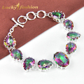 So nice Amercian Style mark 925 silver crystal mystic rainbow red Created topaz bracelet  for women high quality handmade
