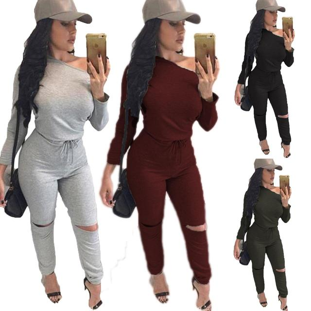 Sexy off shoulder long sleeve jumpsuit romper Belt 2016 autumn hollow out gray jumpsuit women Fashion wine red  jumpsuit