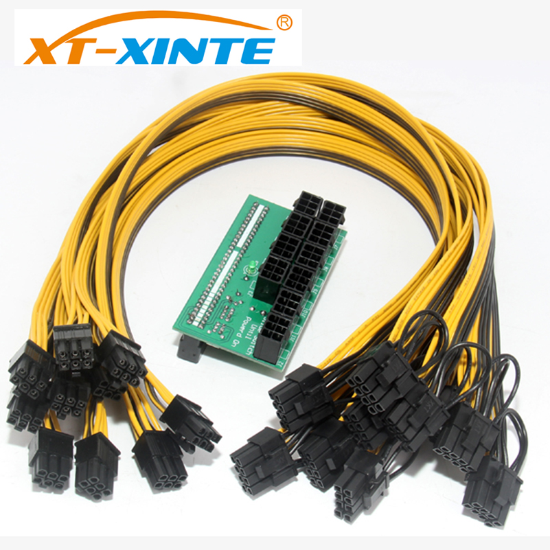 XT-XINTE 10*6Pin Port Breakout Adapter Board With 50CM 18AWG 6Pin Male to 6+2Pin Male Cable Mining Power Supply Kit mining power combination for ps 2112 2ld ps 2112 2l 1100w with breakout board and 10pcs wire fully tested