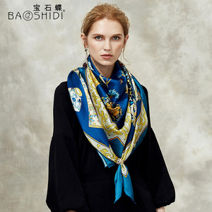 Image 3 - [BAOSHIDI] 100% di modo di seta sciarpa, 16 m/m di spessore, Infinity 132*132 cm Sciarpe delle donne, elegante di marca sciarpe, scialle delle signore, donna hijab