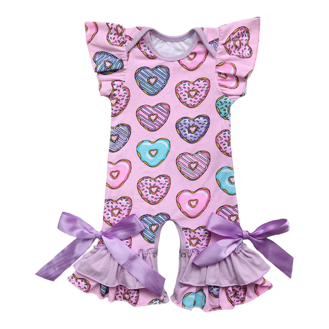 7ef0b83294b0 Pink Baby Romper Newborn Heart Shape Donut Print Puff Sleeeve Onesie Infant Jumpsuit  Baby Clothing Girl Valentine s Day Outfit