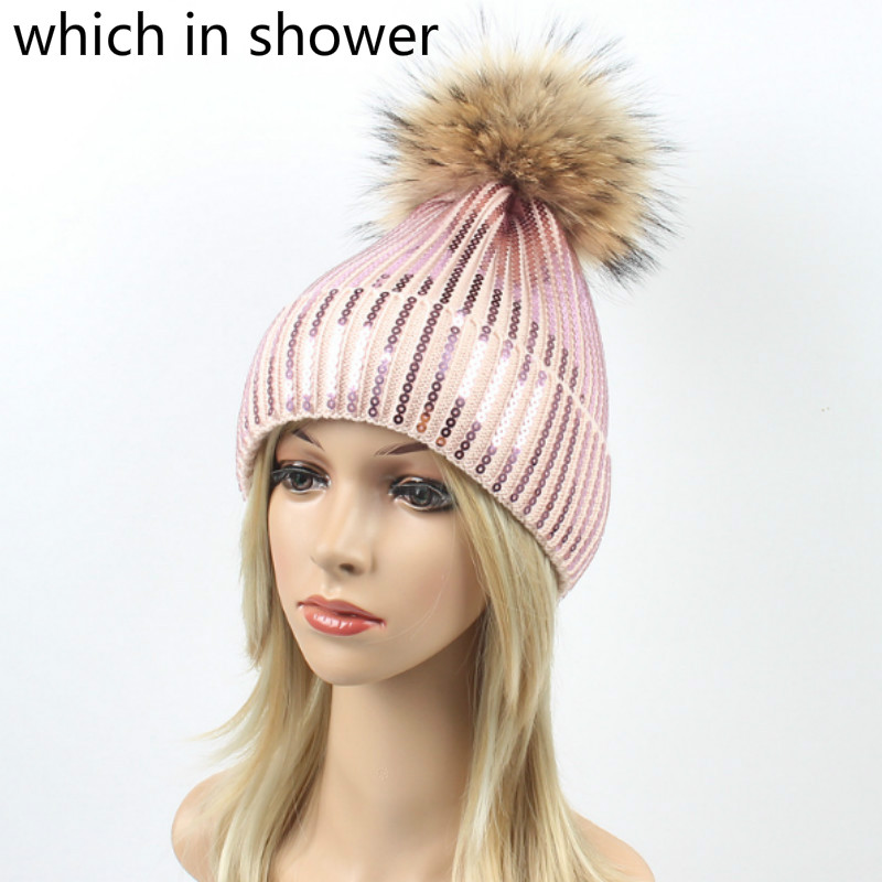 cf05415ba65cc1 Fashion Sequin Women Knitted Hat Real Raccoon Fur Pompom Winter Hat Female  Bling Skullies Beanie With