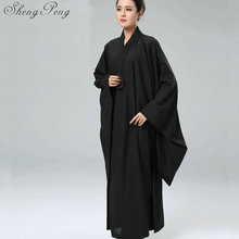 Female pure color buddhist monk robes Shaolin monk uniform for ladies Traditional chinese clothing Long sleeve CC181