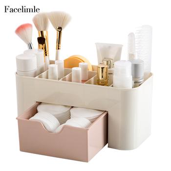 Facemile przechowywanie kosmetyków szuflada organizator schowek na biurko etui na pędzelki do makijażu pojemnik tanie i dobre opinie Szuflady magazynowe Zaopatrzony Ekologiczne Składane Z tworzywa sztucznego Office Storage 22x11x20 5 cm