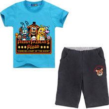 New Year Five Nights at Freddy Costumes for Boys Short Sleeve T-shirt + Shorts Clothing Sets Children Cartoon Sportswear Suits