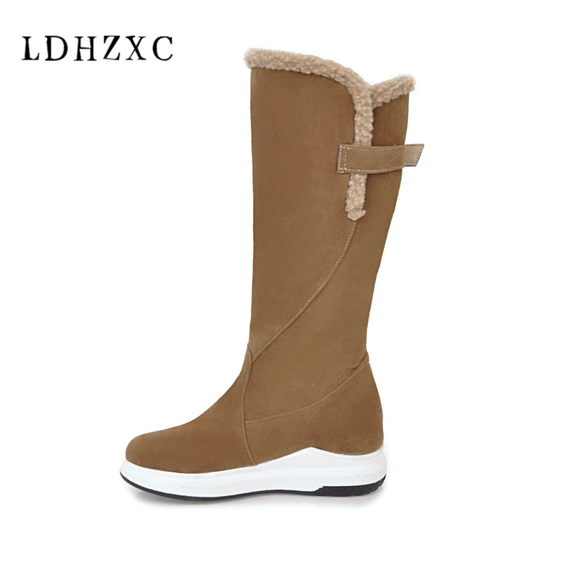 LDHZXC 2018 new Snow Boots Woman Shoes Women Boots Plush Warm Winter Mid Calf Boots Woman Shoes plus size 12 11 plus size 34 47 new autumn winter plush women boots mid calf snow boots woman keep warm mother botas butterfly flats roman shoes