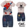 Spiderman kids clothes 2017 children clothing sets 2pcs short jeans,spiderman printed t shirt summer cartoon boys clothes