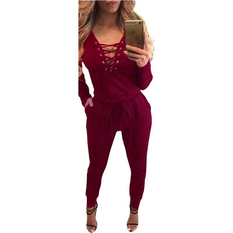 Women Sexy Rompers Autumn Winter Long Sleeve Solid Bandage Bodycon Slim Party Nightclub New Fashion Black Jumpsuits