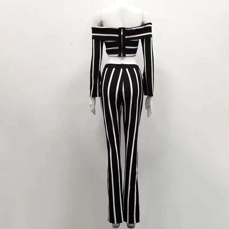 Plein Femmes Bep Mode Court Cravate Ensembles Rayonne Gilet Rayé Long Pantalon Bandage OddYwf
