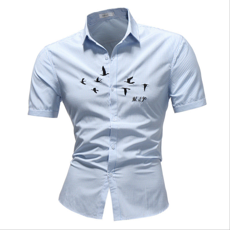 New style Men Luxury Casual short sleeve pin-striped Printed Shirts amn Male Turn down collar Slim Fit Clothes Tops Summer
