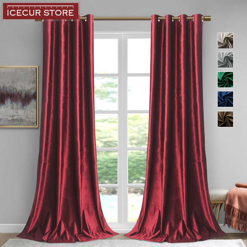 ICECUR Shiny Velvet Curtains for Living Room Bedroom Solid Color Modern Curtains for Kitchen Finished Home Decor Custom Size