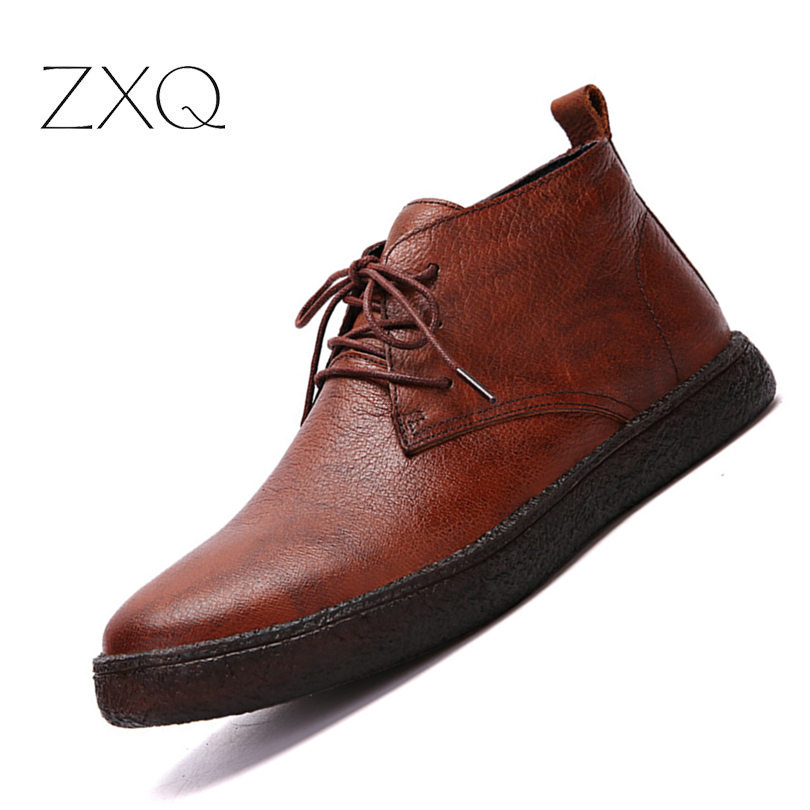 Handmade Genuine Leather Men Winter Boots Warm Casual No Slip Quality Ankle Boots For Men Business Dress Shoe