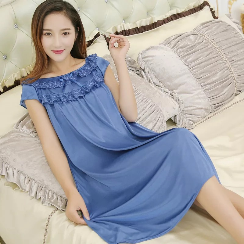 2018 Hot Sale Plus Size 5XL New Sexy Silk Nightgowns Women Casual Chemise Nightie Nightwear Lingerie Nightdress Sleepwear Dress ...