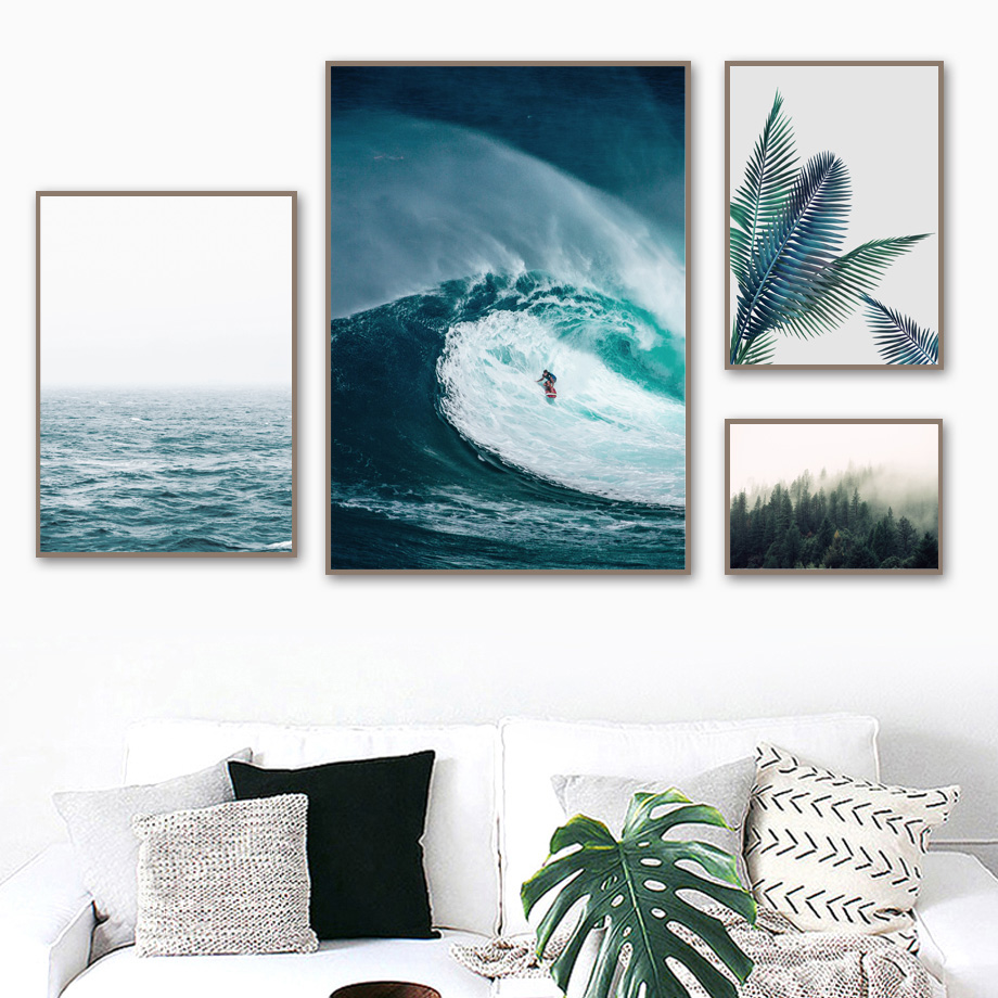 Palm Leaf Forest Surf Sea Wave Landscape Wall Art Canvas Painting Nordic Posters And Prints Pictures For Living Room Decor