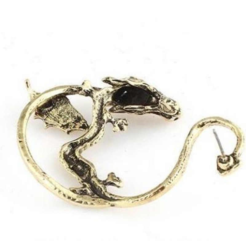 פאנק סגנון הדרקון זרוק עגילים לנשים גברים בציר זהב כסף צבע אוזן קאף אוזן הצהרת תכשיטי מעודן מתנה