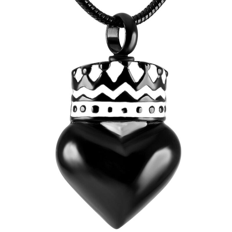 Ijd9406 черное покрытие сердце кремации урна ожерелье Для женщин Шарм, никогда не увядает Нержавеющаясталь Keepsake кремации ювелирные изделия д...