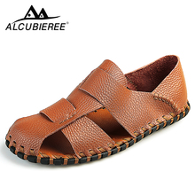 ALCUBIEREE Men Casual  Shoes Genuine Leather Handmade Beach Sandals Male Lightweight Shoes Comfort Causal for Men Summer