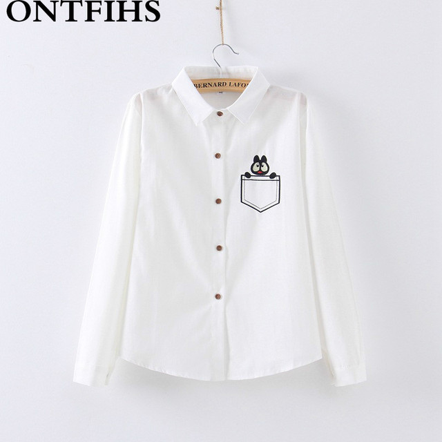 Nowe Mody Damskie Eleganckie Koszule ong rękaw Koszula casual blusas Królik kreskówka haft Biała bawełniana bluzka