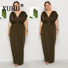 XURU new large size womens sexy dress solid color V-neck loose swing elastic waist M-4XL