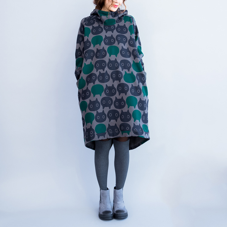 Plus Size Women Hoodies & Sweatshirts Winter Thickening Warm Cotton Fashion Female Cat Print Big Size Casual Turtleneck Dress 6