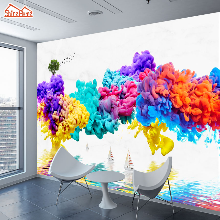 ShineHome-3d Custom Abstract Ink Painting Bird Tree Lake Wallpapers 3 d Wall Paper Wallpaper Mural Roll for Living Room Walls shinehome skyline sea wave sunset seascape wallpaper rolls for 3d walls wallpapers for 3 d living rooms wall paper murals roll