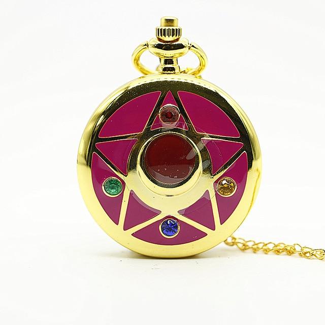 Sailor Moon Fob Watch Anime Sakura Quartz Pocket Watch Necklace Chain Star Fan Collection Relogio DeBolso
