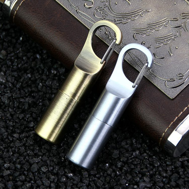 Waterproof Buckle Mini Kerosene Lighter Capsule Gasoline Lighter Key Chain Buckle Lighters Inflated Outdoor Tool Emergency Kit