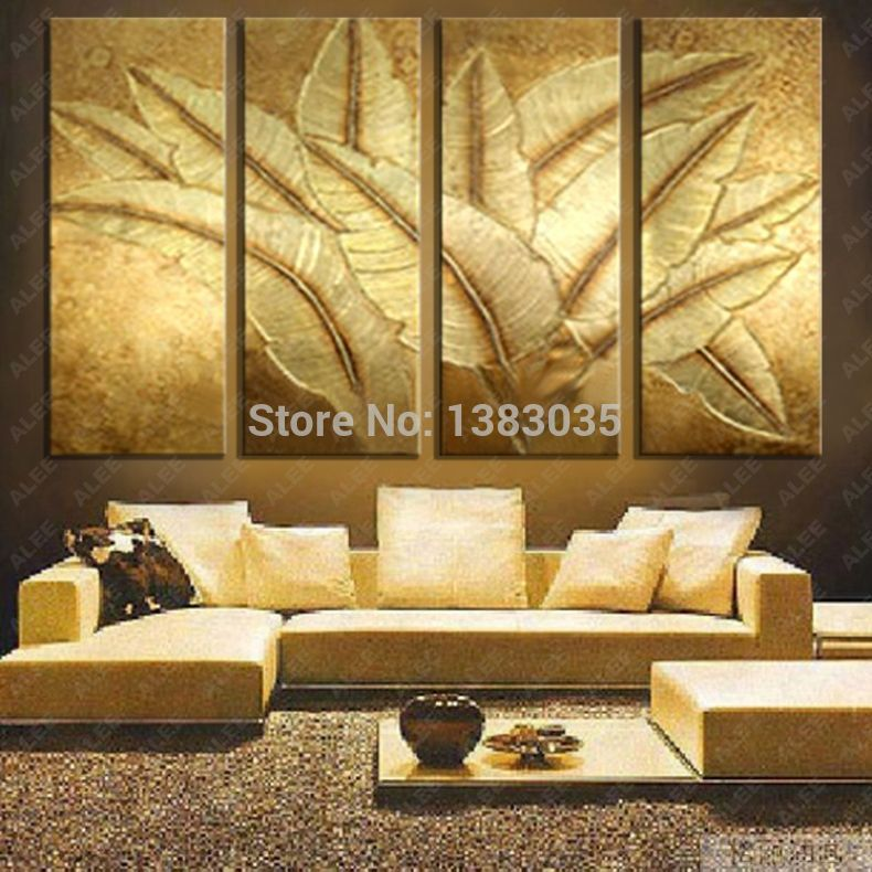 Hand Painted Gold Japanese Banana Leaf Oil Painting Modern Abstract 4 Piece  Canvas Art Wall Decor Picture Sets In Painting U0026 Calligraphy From Home U0026  Garden ...