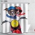 Hohe Qualität Cartoon Gedruckt Polyester Fahrzeug modelle bad vorhang Wasserdicht Hause Bad Vorhang 3D motorrad dusche vorhang-in Duschvorhänge aus Heim und Garten bei