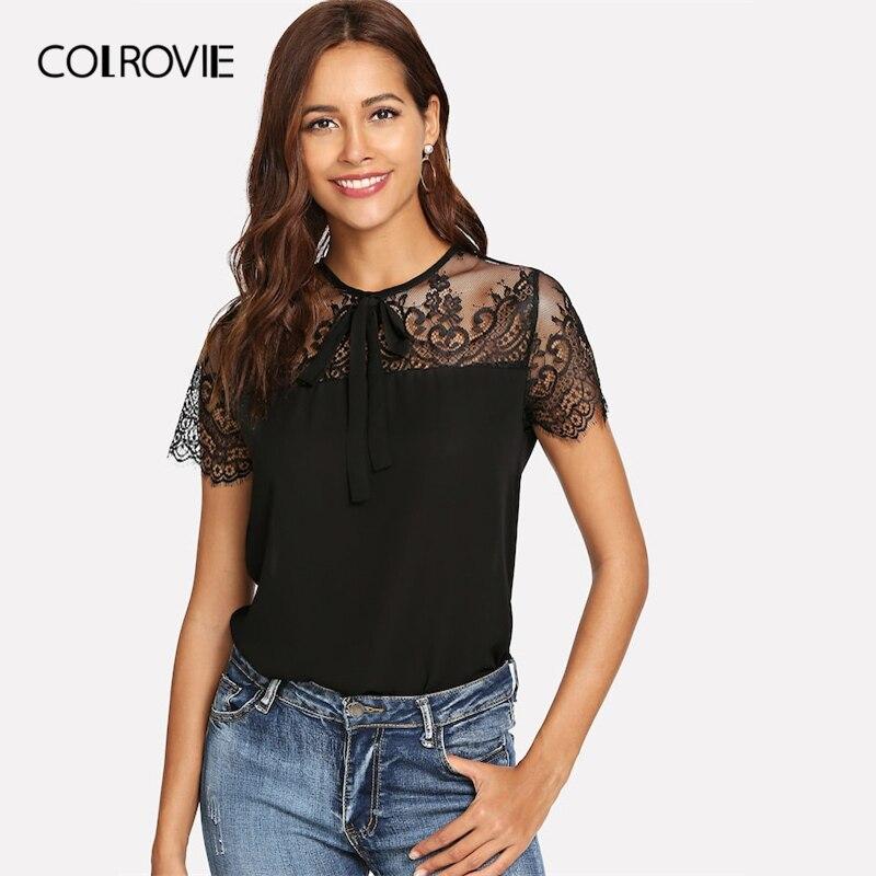 COLROVIE Black Solid Mesh Tie Neck Lace Shoulder   Blouse     Shirt   Women Tops 2019 Spring Workwear Elegant   Shirts   Office Female Tee