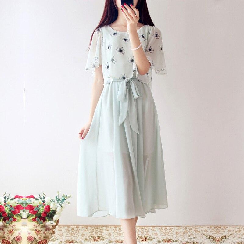 2016 Summer Japanese Mori Girl Princess Fairy Floral Print Dress Women Art Small Fresh Sweet Chiffon Vintage Gowns Dresses X009
