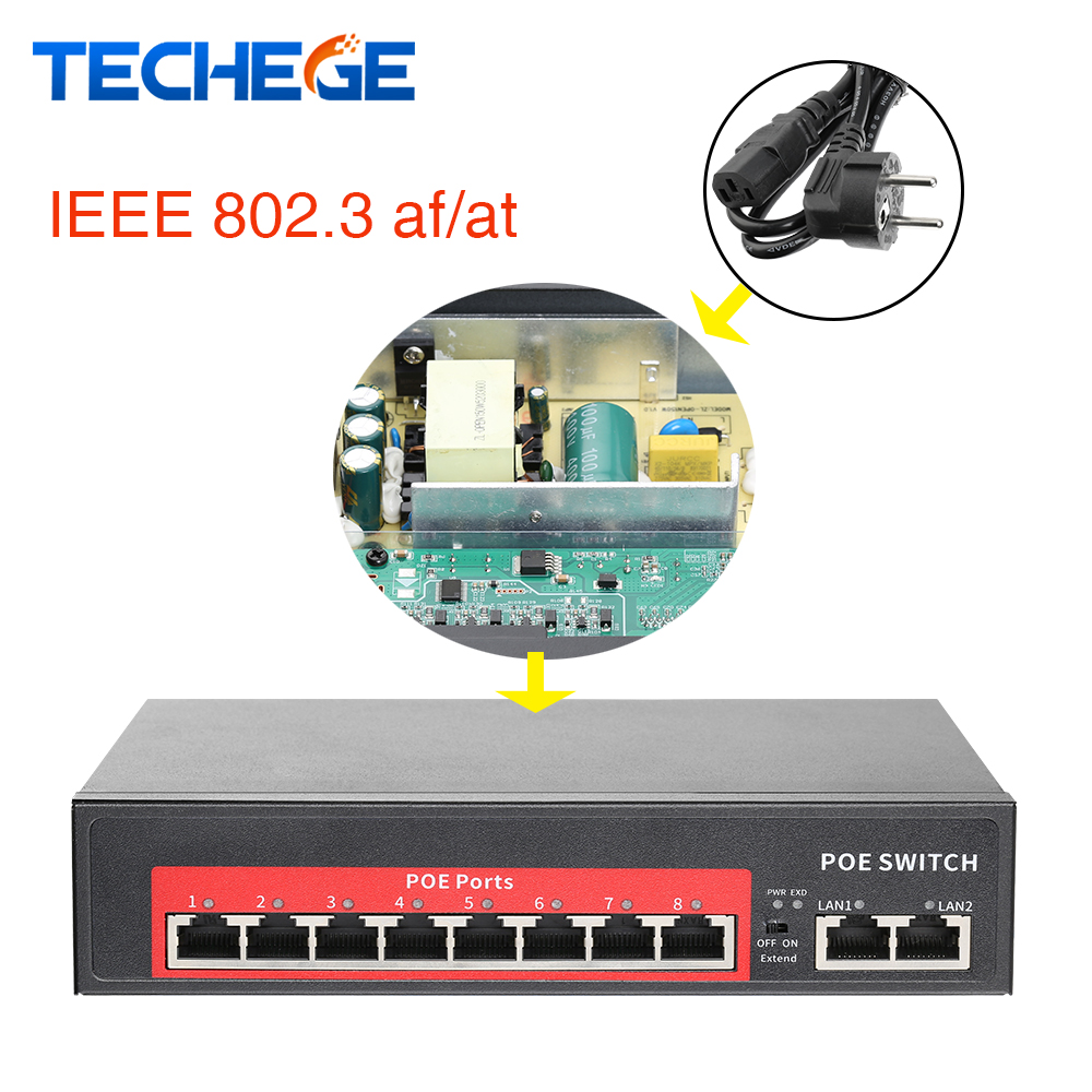 52V/48V Network POE Switch Ethernet 8 Ethernet Port 2 Uplink Ethernet Port IEEE 802.3 Af/at Suitable For IP Camera